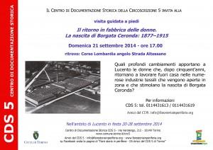 CDS-Volantino Il ritorno in fabbrica delle donne. La nascita di Borgata Ceronda 21-09-2014