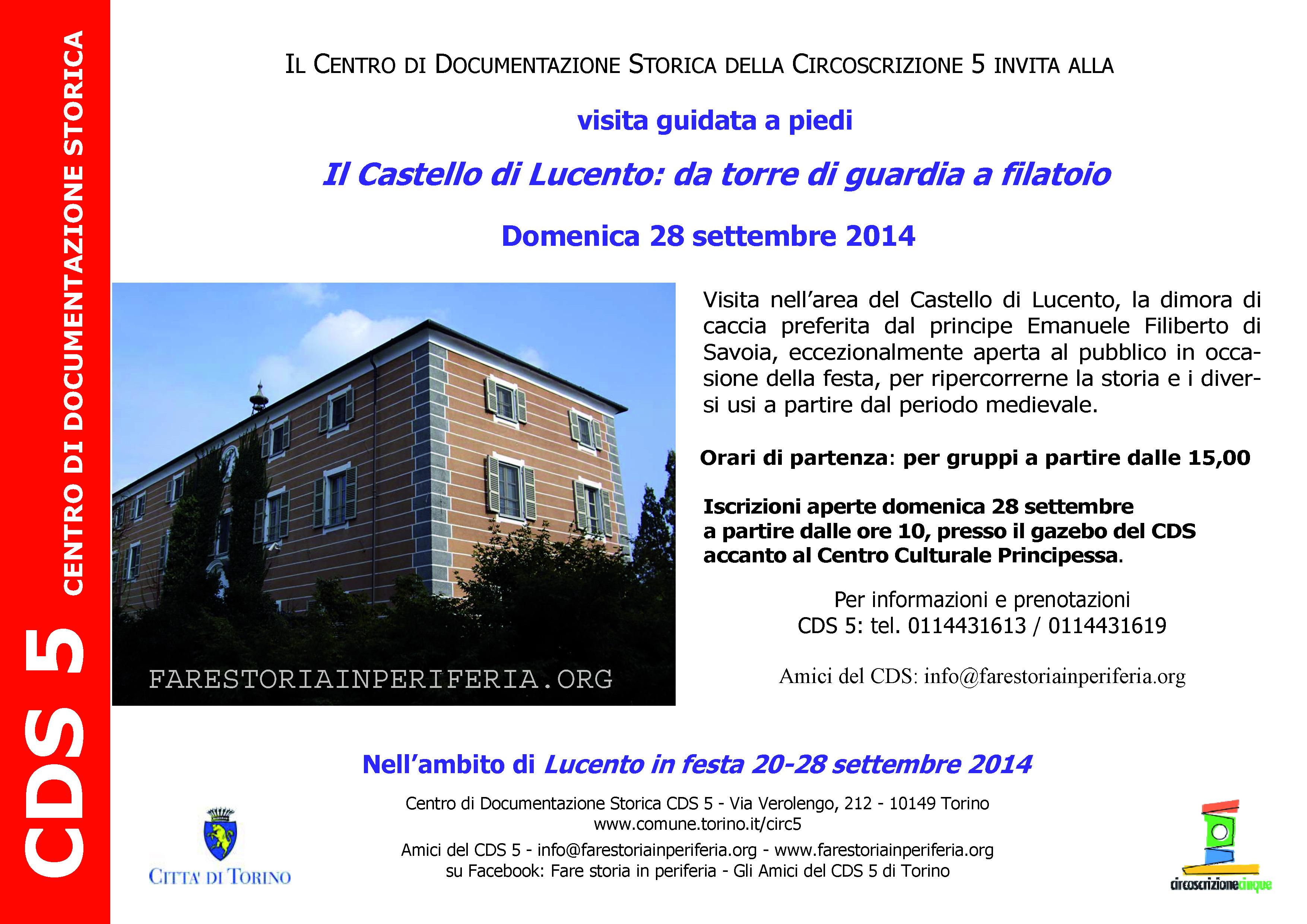 CDS-Volantino Visita al Castello di Lucento 28-09-2014