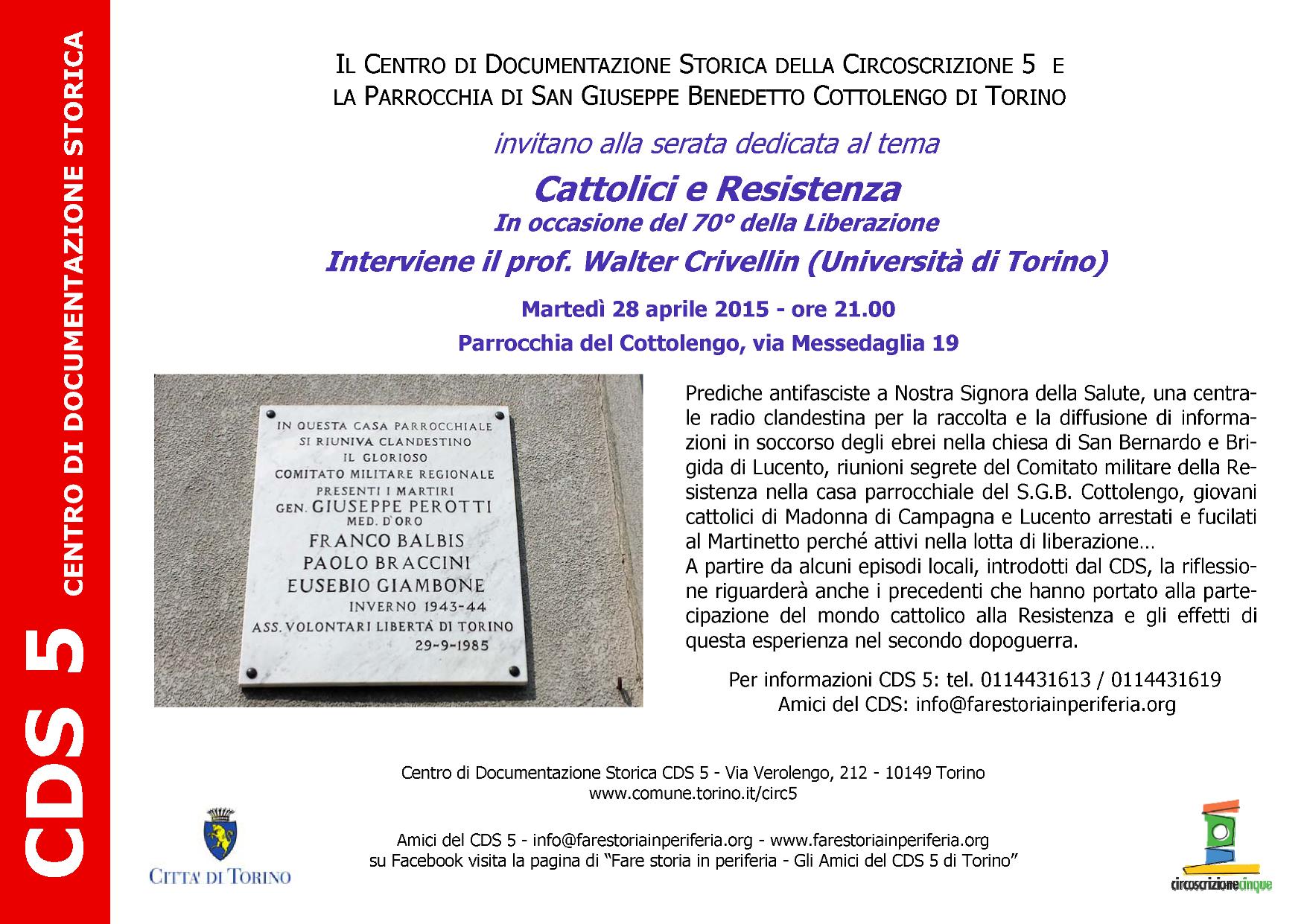 CDS-Volantino Cattolici e Resistenza per i 70 anni Liberazione 28-04-2015