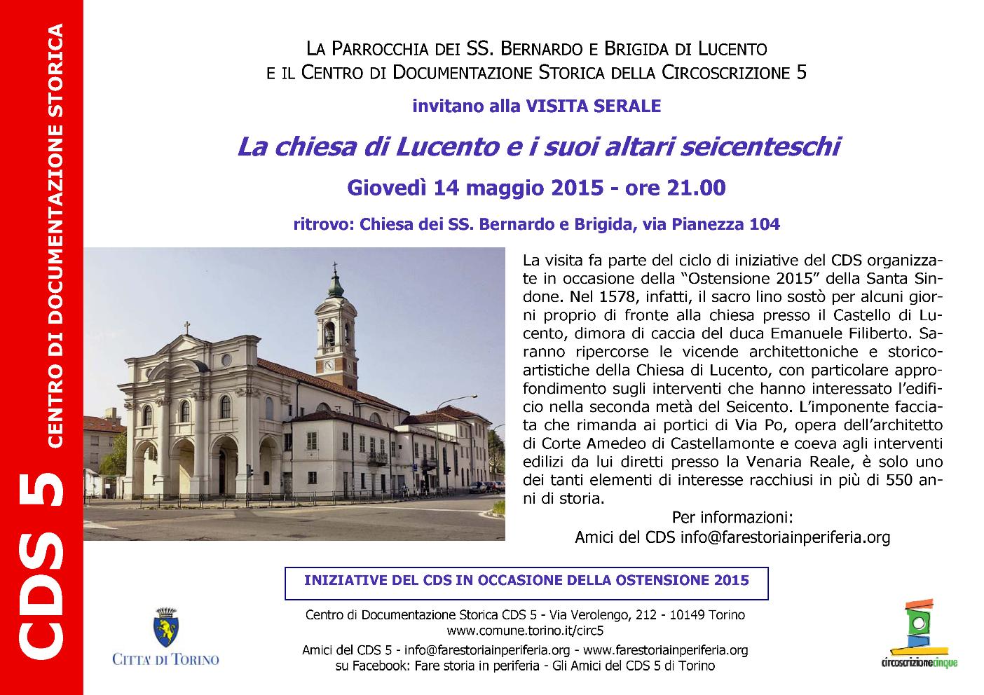 CDS Visita serale chiesa Lucento e altari seicenteschi 14-05-2015