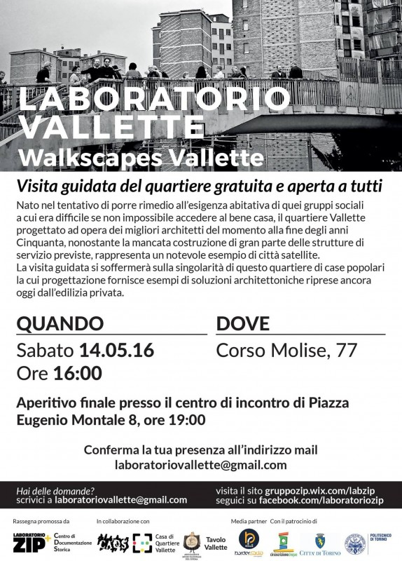 Volantino Lab Zip e CDS walkscapes Vallette 14 maggio 2016