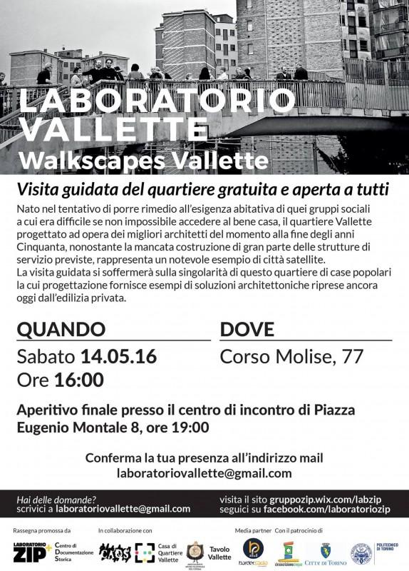 Volantino Lab Zip e CDS walkscapes Vallette 14 maggio 2016