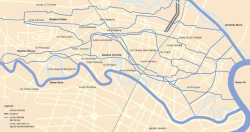 La rete irrigua dell'Oltredora torinese: i tracciati delle bealere Vecchia, Nuova e Putea (Elaborazione grafica del Centro di Documentazione Storica della Circoscrizione 5 di Torino, 2006)