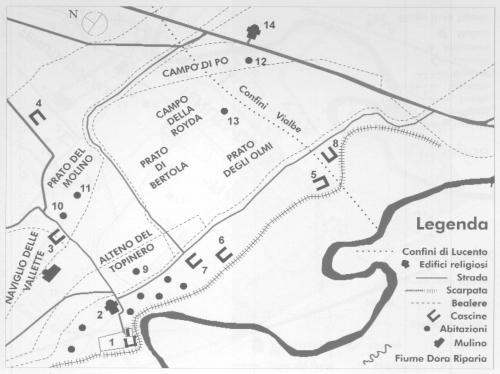 8 Assetto stimato del centro lucentino (fine XVI sec)
