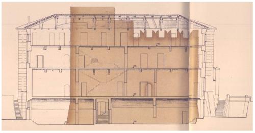 5 Castello di Lucento. Ricostruzione grafica del castello  con le dimensioni del muraglione originario e coronamento merlato