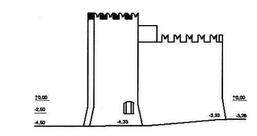 4 Disegno Torre d'avvistamento e casaforte del castello di Lucento fine Trecento