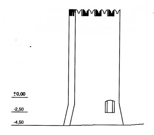 3 Disegno Torre d'avvistamento del castello di Lucento Prima metà Trecento