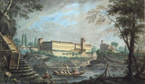 27 Filatoio e Castello nel dipinto di Ignazio Sclopis (~1778 tempera su carta)